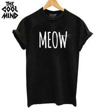 THE COOLMIND 100% Cotton Meow CAT Print Women T-shirt Short Sleeve BEST FRIEND T Shirt 2017 Hot Sale Lovely Cat Tops Tshirt