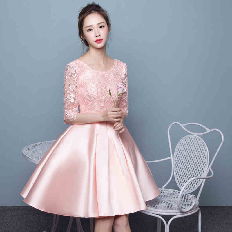 Pearl Pink Satin Short font b Bridesmaid b font font b Dresses b font Half Sleeves