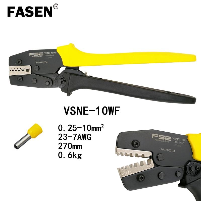 FASEN VSNE 10WF crimping pliers 0 25 10mm2 23 7AWG for ferrules tube terminals 270mm lengthen