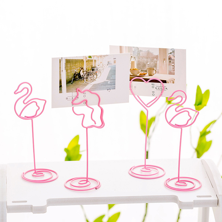 Pink Girl Cute Heart-shaped Clip Photo Folder Flamingo Simple Office Desktop Message Note Clip Decoration
