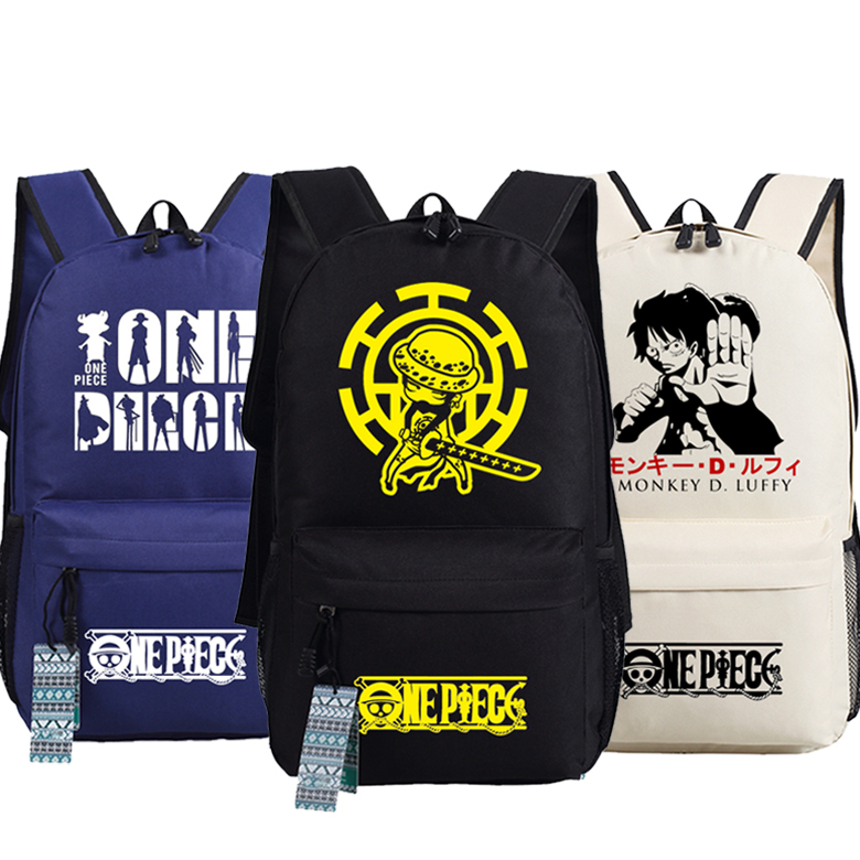 Men Women Unisex Japan Anime One Piece Trafalgar D Water Law Monkey D. Luffy Backpack Bag School Shoulder Travel Bag anime one piece cosplay monkey d luffy cos cartoon student campus male and female backpack child birthday gift