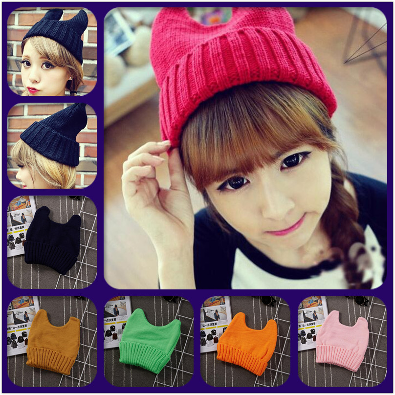 New Arrival Fashion Causal Men Women's Winter Knit Crochet Braided Cat Ears Beret Beanie Knitted Hat Cap Hot Sale IF164