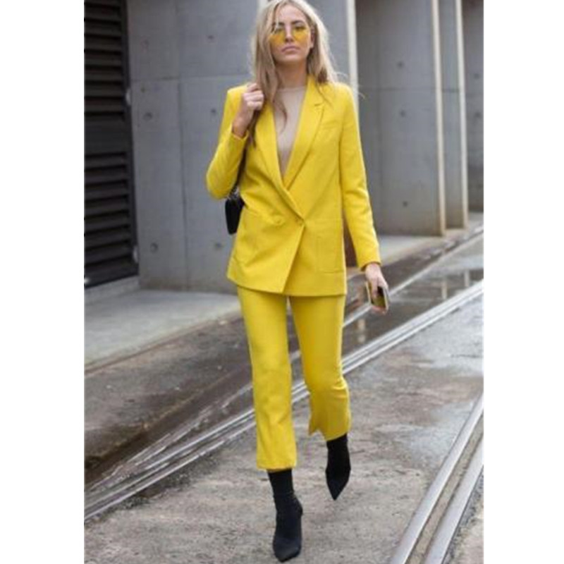 Jacket + Pants Yellow Women Business Suit Coat Womens Office Uniform 2PC Womens Double Breasted Official Suit Customized