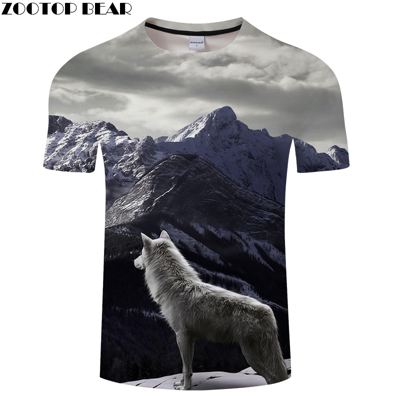 Miss Wolf&Mountains 3D Print t shirt Men Women tshirt Summer Casual Short Sleeve O-neck Hip Hop Tops&Tees Drop Ship ZOOTOP BEAR