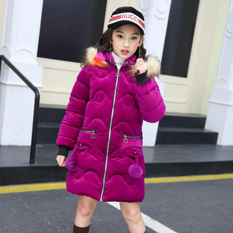 8ecb2ca45 Children Fashion Down Cotton Coat Jacket Parka Girls Fur Collar ...