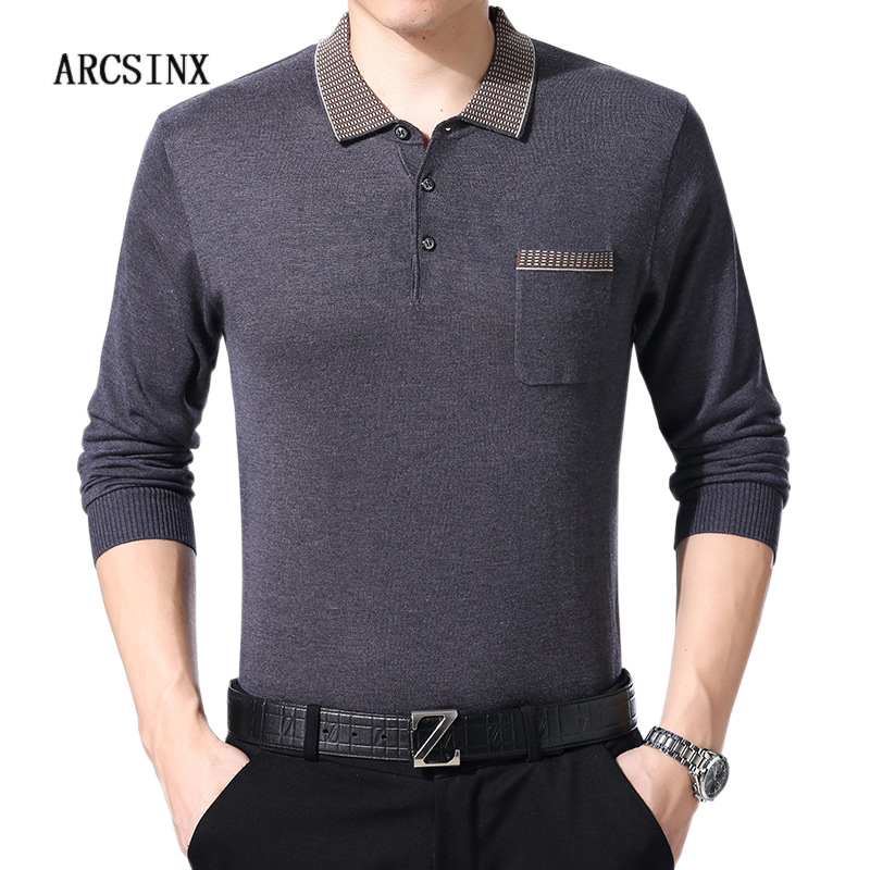 ARCSINX Long Sleeve   Polo   Man Knitted Solid Color   Polo   Shirt Men England Style Autumn Winter Mens   Polo   Shirts Turn-down Collar