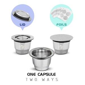Image 2 - 2 في 1 استخدام Recargables القهوة تصفية الفولاذ المقاوم للصدأ نسبرسو الملء كبسولة 3 قطعة + 120 الأختام قابلة لإعادة الاستخدام ل Essenza Mini