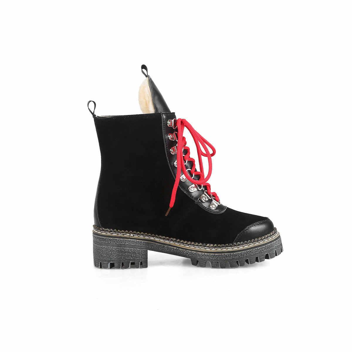 Bayan Botları Kalın Alçak Topuk Moda Patik Platformu Lace Up Güz Kış Bayanlar Ayakkabı Beyaz Siyah Sarı 2018 Yeni