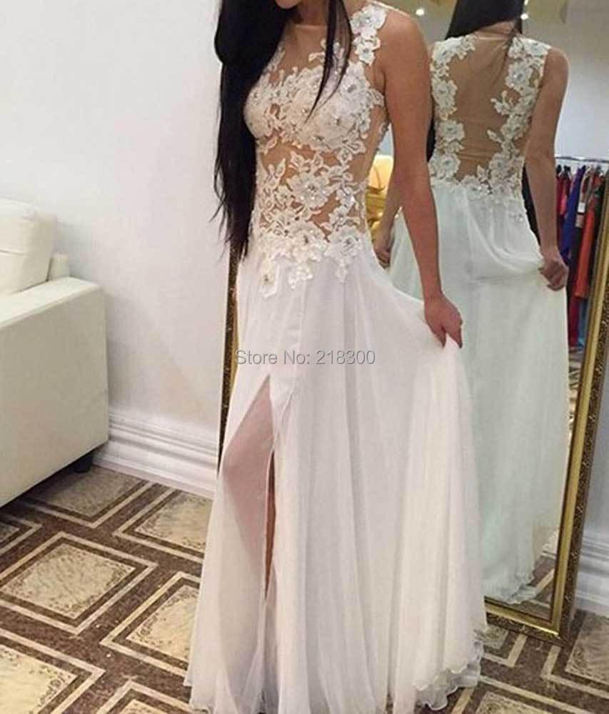 See through chiffon wedding dresses with slit beach wedding dresses white backless beach wedding dresses junglespirit Images