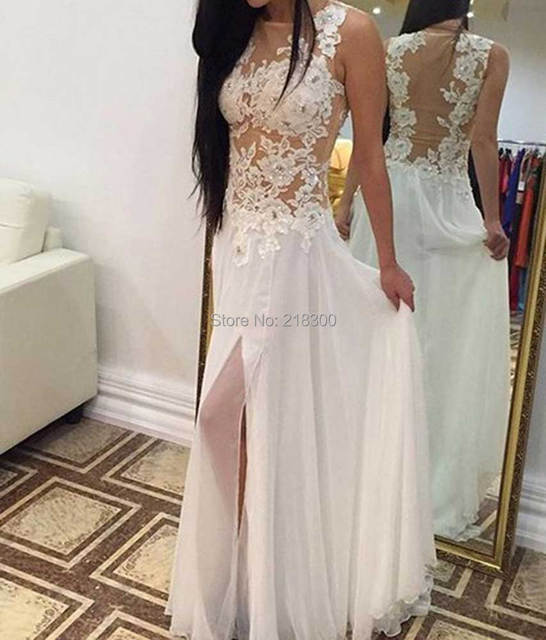 See through chiffon wedding dresses with slit beach wedding dresses ...