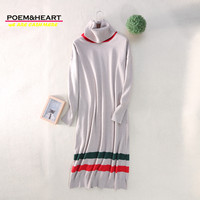 POEM HEART 2017 New Autumn Winter Korean O Neck Turtleneck Cashmere Wool Women Dress Heaps Collar