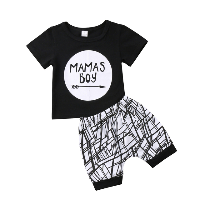 Emmababy lindo bebé mamas Boy letra negro camiseta Tops + Pantalones traje Bebé  Ropa del bebé del verano del algodón niños ropa 1ccebb9d529a