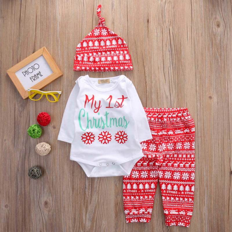 Newborn Baby Boys Girls Tops Romper Pants Hat 3PCS Outfits Set Christmas Clothes