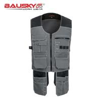Men's Vest Multifunction Multi Tool Multi pocket T/C Twill Workwear Vest Waistcoat for Maintenance Zipper