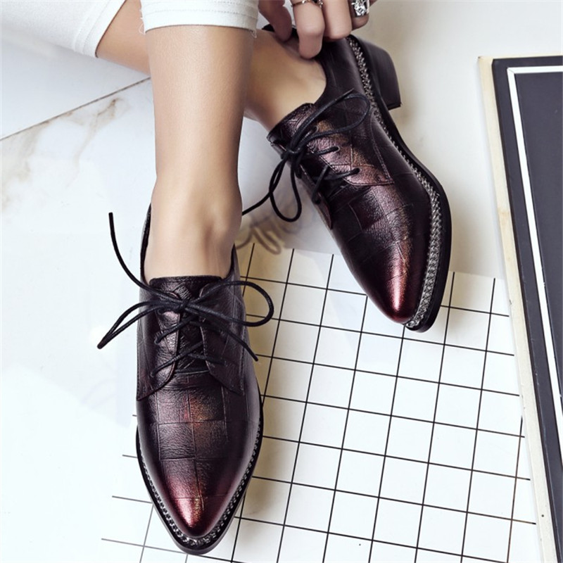 Plus Size 34-43 new spring autumn fashion Cow Genuine Leather Leisure style  women shoes Metal Chains Square heel oxfords shoes fashion women s gorgeous colorful embroidery leisure shoes spring and autumn walks tourism national style flats smyxhx 10136