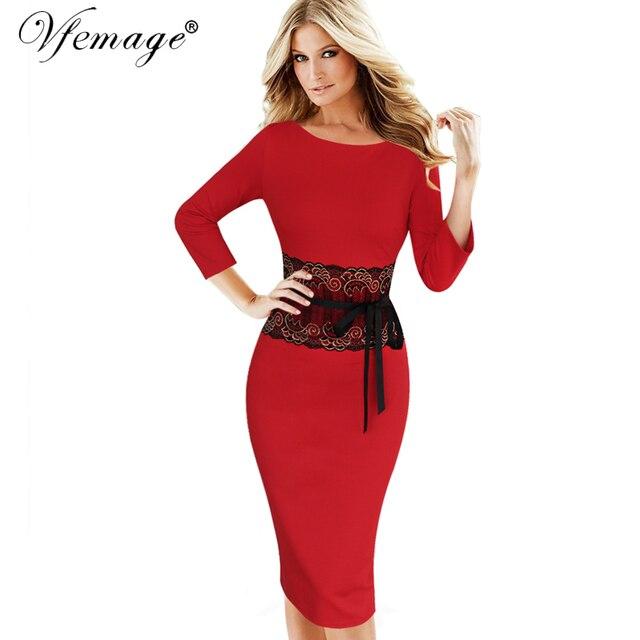 Vfemage женская осень зима элегантные старинные кружева туника повседневная работа офис партии карандаш оболочка bodycon vestidos dress 4290