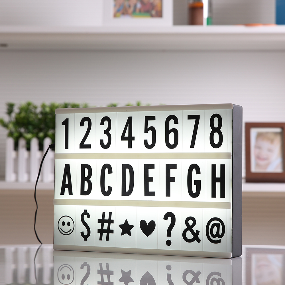 High Quality A4 Size LED Cinematic Light Box with DIY 90 PCS BLACK Letters Cards 3AA BATTERY or USB PORT Powered Cinema Lightbox diy cinematic lightbox led night light box modern table desk lamp a4 size letters number battery usb powered home decor iy303206 page 5