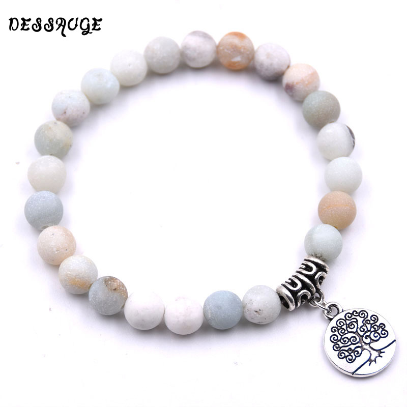 DESSAUGE Charm Tree of Life Women Bracelet Men Natural Stone Bracelet Simple Style Elastic Rope Yoga Bracelet Spiritual Jewelry