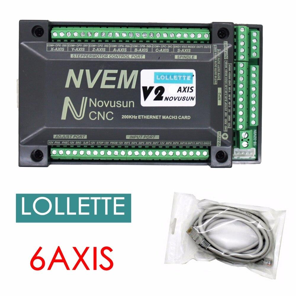 2018 NVUM 6-Axis NVEM V2 version CNC Contrôleur 200 KHZ Ethernet MACH3 Carte De Commande De Mouvement pour Moteur pas à pas
