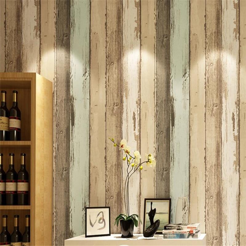 ᓂBeibehang 3D wallpaper grano de madera rayas retro estilo ...
