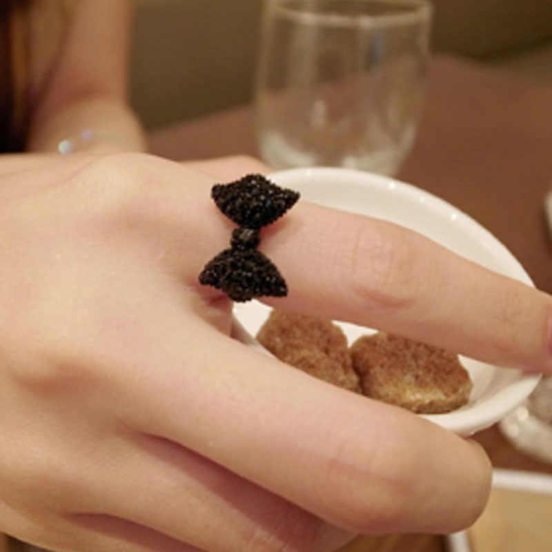 أزياء لطيف الأسود كريستال القوس قابل للتعديل خواتم للنساء مجوهرات فراشة خاتم Anillos الزفاف و الخطوبة بيجو