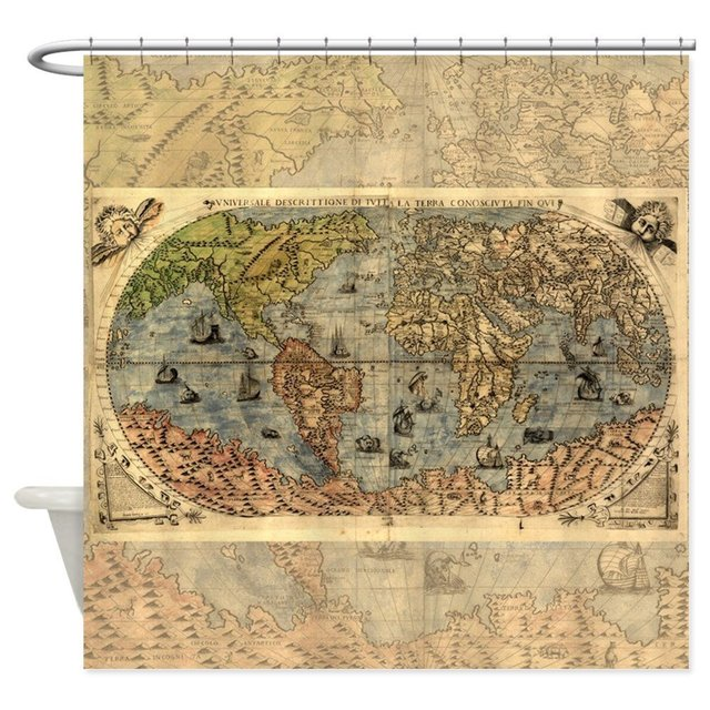 World Map Vintage Atlas Historical Shower Curtain Decorative Fabric 12 Hooks Curtains Bath Customize