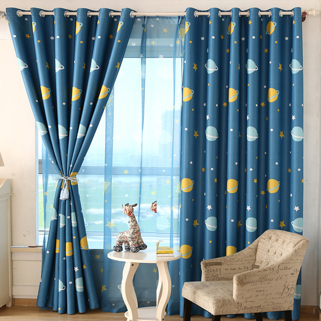 Modern Star Curtains For Children Blackout Bedroom Kid Baby Room Darking Panel Drapes