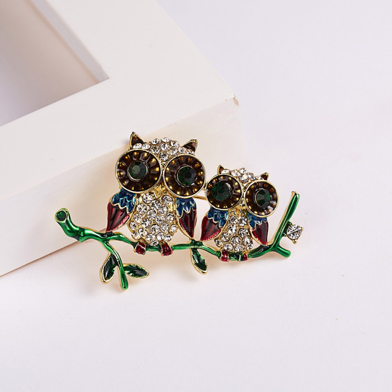Rhinestone Couple Owls Brooch Enamel Pins Animal Brooches for Women Men Clothes Scarf Buckle Collar Jewelry Pin Owl Broches Gift in Brooches from Jewelry Accessories