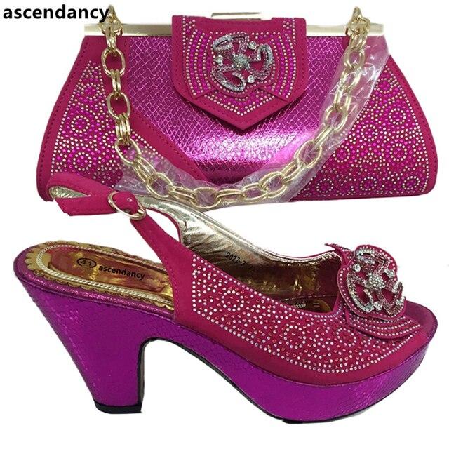 Neueste Fuchsia Farbe Afrikanische Frauen Italienische Schuhe und Tasche Set  Verziert mit Appliques Passenden Schuhe und 6e20725a12