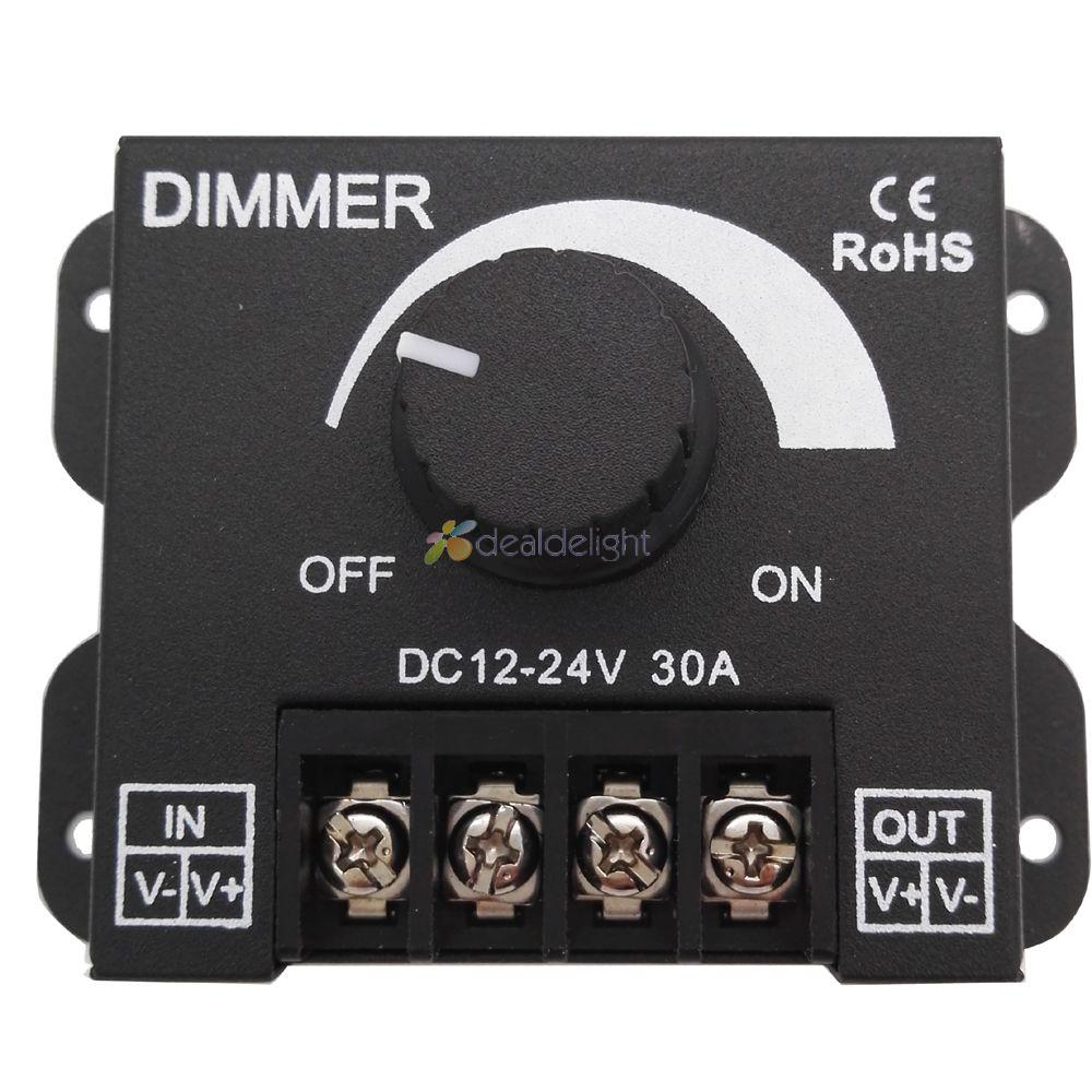 30a Led Dimmer Dc 12v 24v 360w Adjustable Brightness Lamp Bulb Strip Driver Single Color Light Power Supply Controller