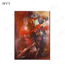 MYT شحن مجاني المرأة و رجل الرقص ديكور المنزل صور فنية للجدران 1 قطعة مجردة النفط اللوحة الذهبي النفط اللوحة على قماش