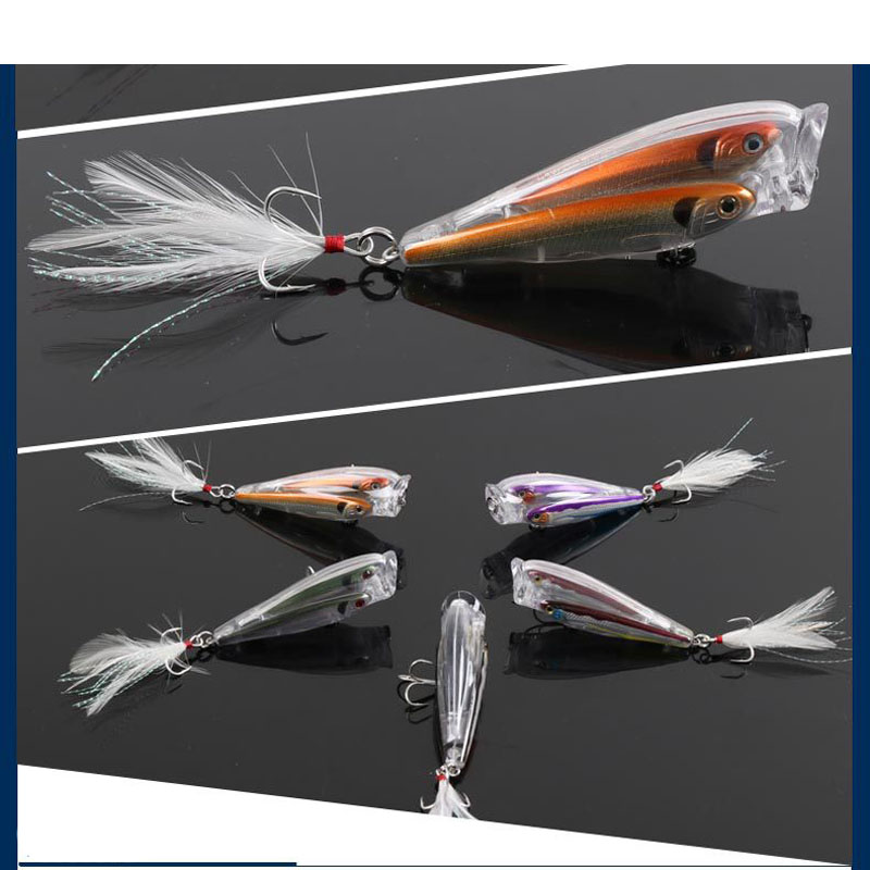 Lot 2 Pieces Live Target Fish Popper Lures Group Shoal of Fish Artificial Hard Plastic Bait Ball 9cm/10g ...