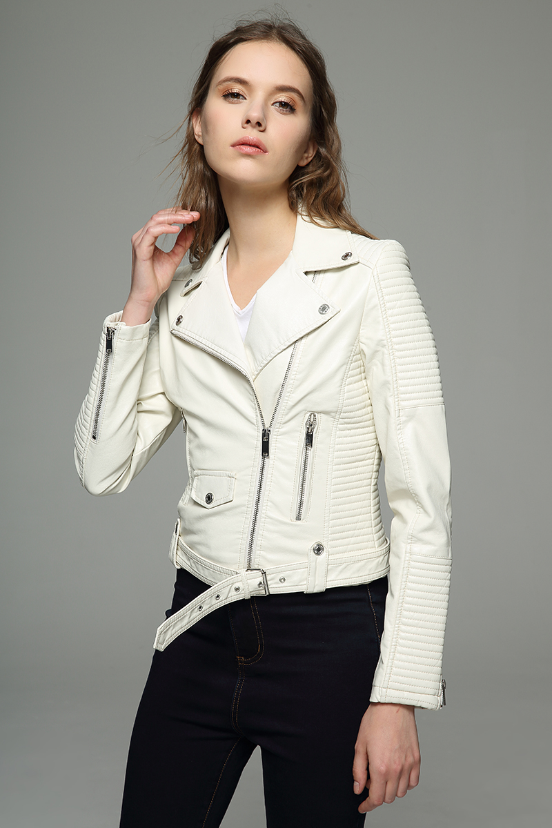High quality Women white winter jacket Faux leather coat inside Fur belt free new 2017 hot sale Slim fit short coat