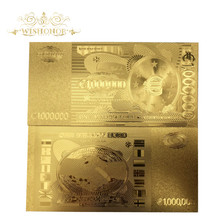 10pcs/lot 24k Gold Plated Euro Gold Banknote One Million EUR Banknotes Fake Money Art Crafts for Gifts