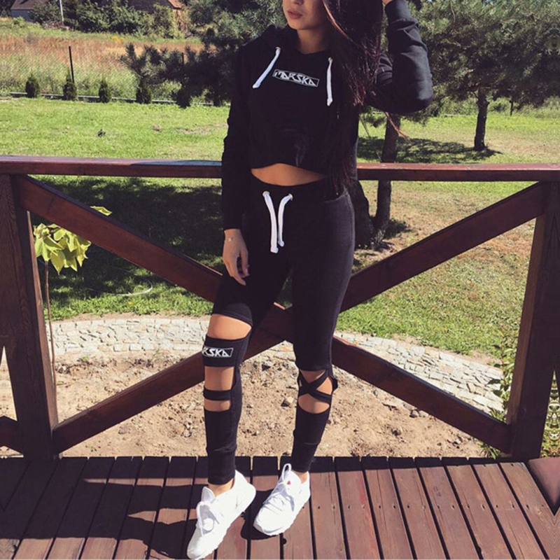 KLV Crop Top Hoodie + Pants Set Cut Out Bottoms Hooded Tracksuit Suit