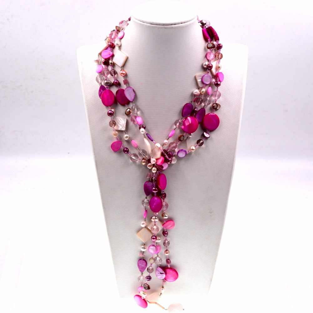 Hot Pink Freshwater pearl Czech seed beads stone mix long pearl necklace