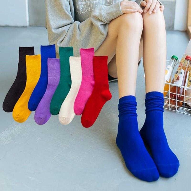 IOLPR Socks Women Cotton Harajuku Retro Candy Socks Funny Socks Colorful Blue Red Yellow Socks Skarpetki Calcetines