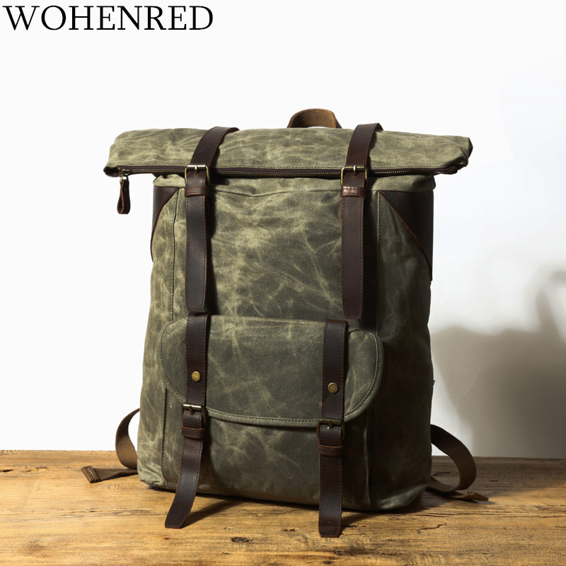 Men's Backpacks Vintage Canvas Leather Laptop Backpack for Men School Bag Mochila Large Capacity Waterproof Travel Bag Rucksack ozuko 14 inch laptop backpack large capacity waterproof men business computer bag oxford travel mochila school bag for teenagers