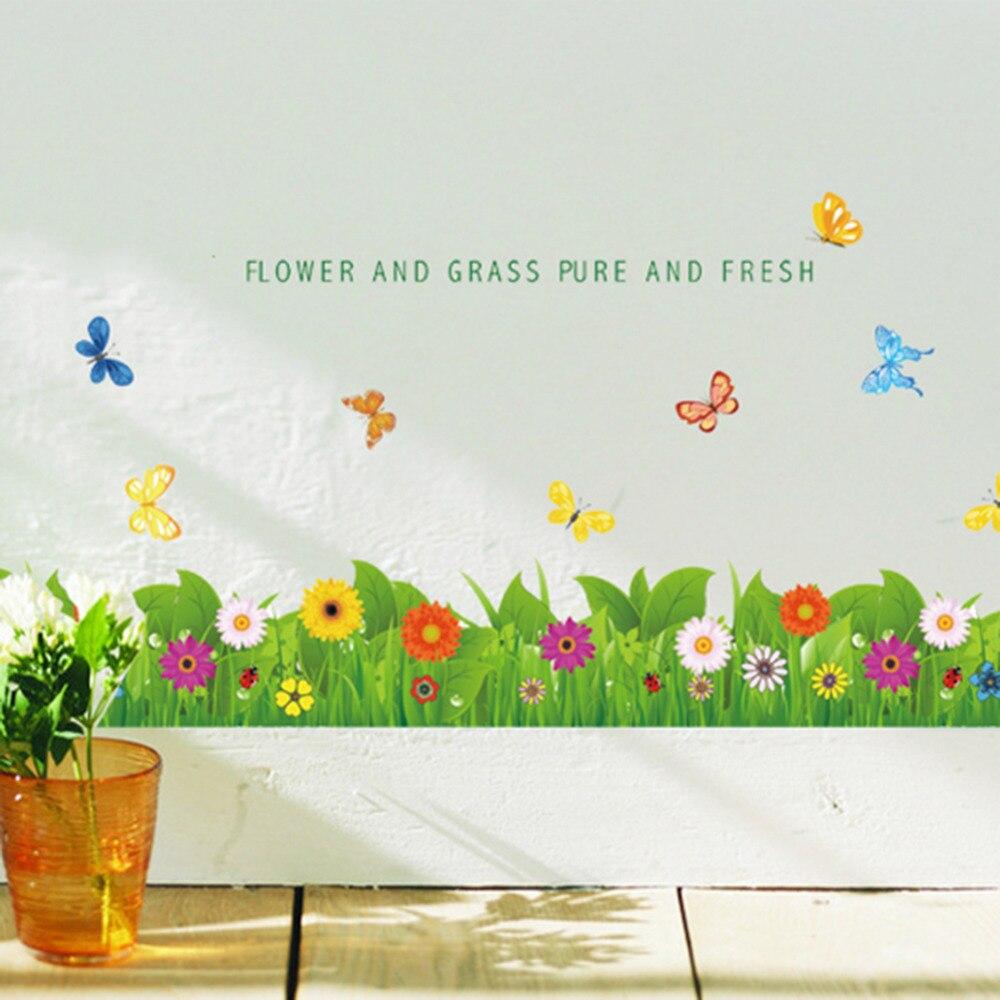 ღ ƹӝʒ ღvert Herbe Fleur Papillon Pied Mur Stickers Muraux
