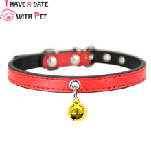 Personalized Small Dog Collar Leather Cat With Gold Bell Necklace Puppy Leash Accessories 10 Colors Pet Supplies