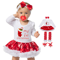 Christmas Baby Clothes Snowflake Long Sleeve Newborn Romper Dress Baby Girls Clothes Set 4pcs New Year Bodysuit Infant Clothing
