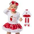 Copo de nieve de navidad ropa de bebé recién nacido de manga larga del mameluco dress de los bebés ropa fijada 4 unids año nuevo traje ropa infantil