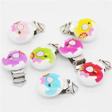 Wholesale-5PCS Wood Baby Pacifier Clip Round Elephant Printed White Metal Holders 4.4cm x 2.9cm(1 6/8 x1 1/8)