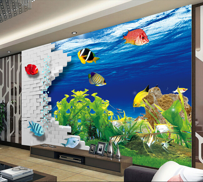 The custom 3D murals,3 d brick wall underwater world,living room sofa TV wall bedroom wall paper world outside the window paper
