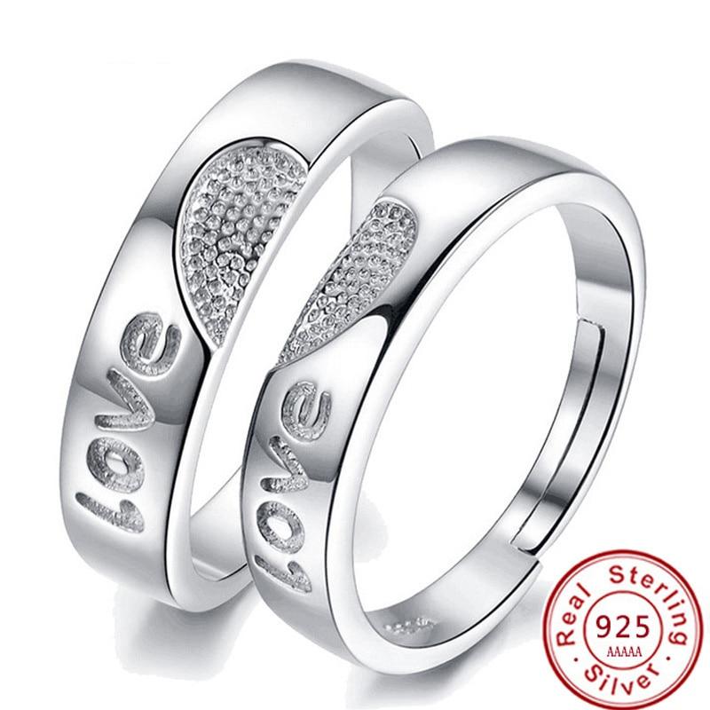 30% 925 srčni-srebrni nakit srčni par Prstani bague Nakit za ženske / moške prilagodljiv ogrlice poročni prstan JZ31