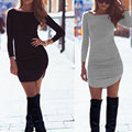 New Arrival 2016 Fashion Ladies Crew Neck Long Sleeve Sheath Bodycon Mini Dress Women Sexy Casual Party Club Dresses Vestidos