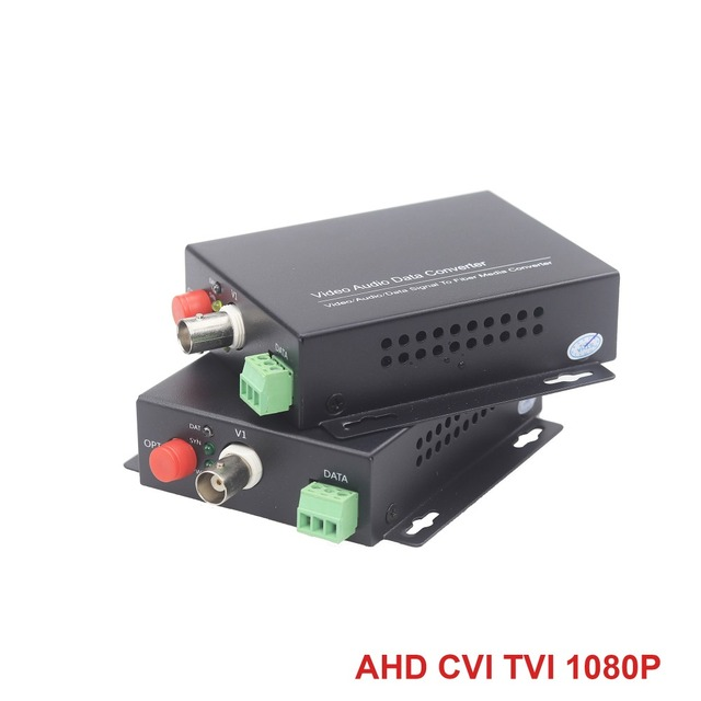 1080P Optical Video Transmitter & Receiver Signal Fiber FC Extender Analog AHD CVI TVI Cameras 20KM