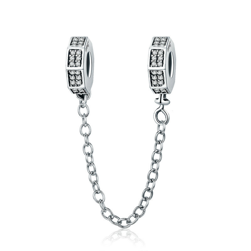 100% 925 Sterling Silver Classic Geometric Shape Clear CZ Safety Chain Stopper Charm fit Bracelet Bangles Jewelry SCC605 BAMOER