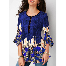 Plus Size Women Vintage Printed Button Up Pleated Three Quarter Sleeve Blouse