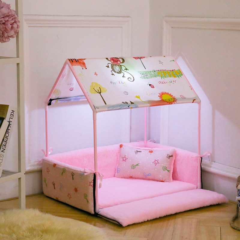Cute Dog Tent Bed With Lamp Princess Luxury Dog Bed House Washable Indoor Small Dog Puppy Sofa Bed Kennel Nest Dog Mat Cushion ...